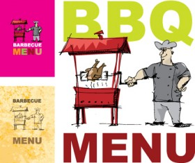 Chef with menu cover Templates vector graphic 01