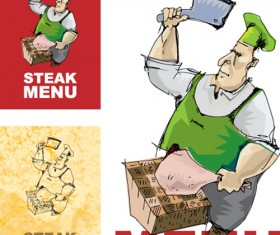 Chef with menu cover Templates vector graphic 02