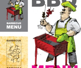 Chef with menu cover Templates vector graphic 03