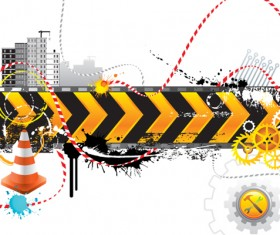 Construction signs mix Garbage elements vector 02