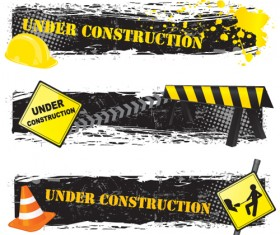 Construction signs mix Garbage elements vector 03