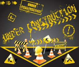 Construction signs mix Garbage elements vector 04