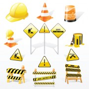 Construction signs mix garbage elements vector 05
