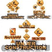 Construction signs mix garbage elements vector 06