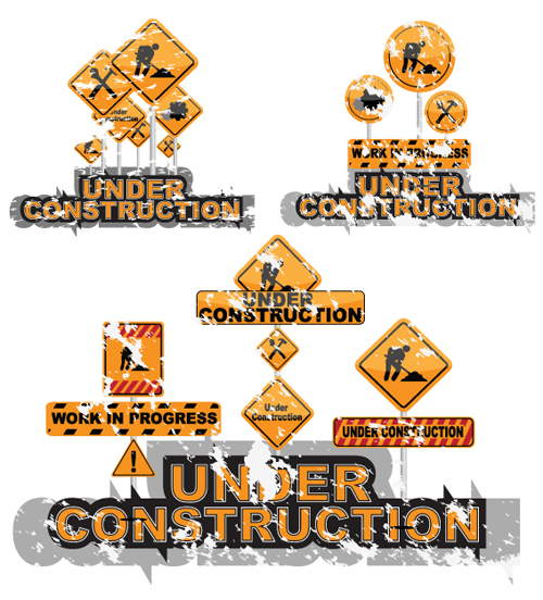 Cartoon Construction Signs Construction Signs Mix Garbage