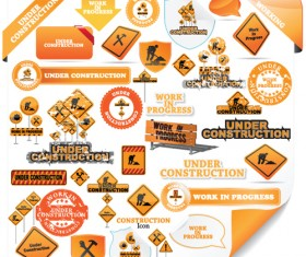 Construction signs mix Garbage elements vector 07