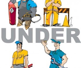 Workers in the Under construction vector 02