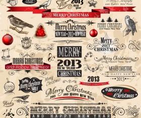 Various Christmas decor elements vector set 03