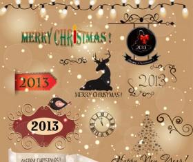 Various Christmas decor elements vector set 04