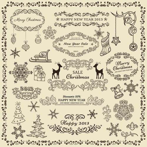 Various Christmas decor elements vector set 01