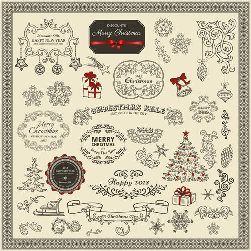 Various Christmas decor elements vector set 02