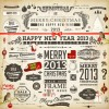 Vintage Christmas and New Year 2013 Ornaments vector 01