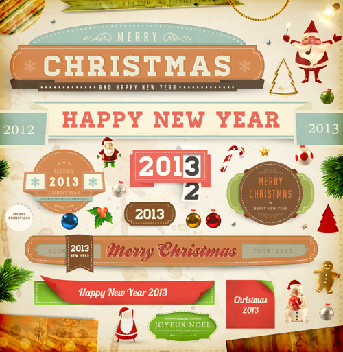 Vintage Christmas and New Year 2013 Ornaments vector 03