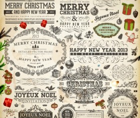 Vintage Christmas and New Year 2013 Ornaments vector 05
