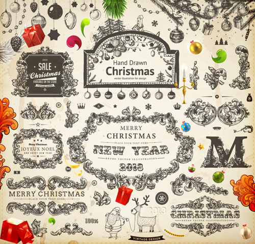 Vintage Christmas and New Year 2013 Ornaments vector 06