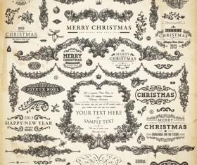 Vintage Christmas and New Year 2013 Ornaments vector 07