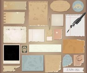Vintage Torn paper elements vector 04