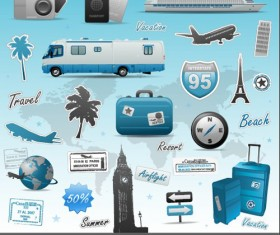 Vivid travel icons collection