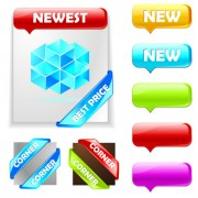 Link toWeb ribbons elements and button vector 01