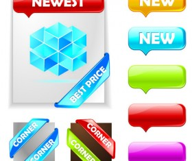 Web ribbons elements and button vector 01