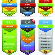 Link toWeb ribbons elements and button vector 04