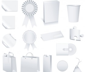Set of White objects In life elements vector material 03
