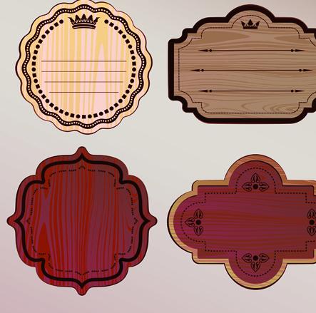 Various Wooden label design vector 02 free download