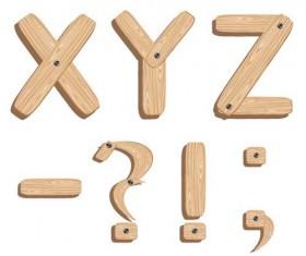 Creative Wooden Alphabet design vector set 03