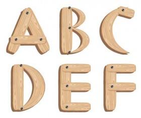 Creative Wooden Alphabet design vector set 05