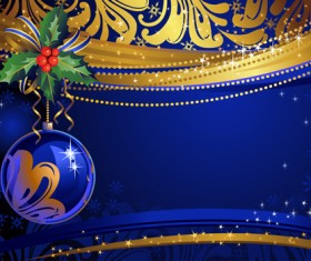 Shiny Xmas decorations design vector 05