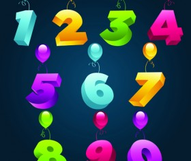 Balloons alphabet and numbers design vector 01