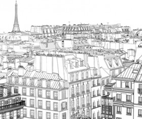 Drawing city buildings and scenery vector 01