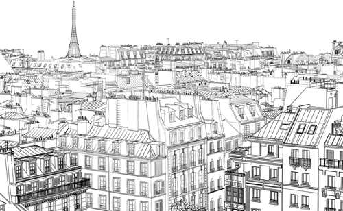 Building Scenery Drawing Drawing City Buildings And