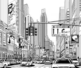 Drawing city buildings and scenery vector 02