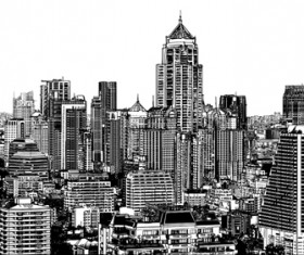 Drawing city buildings and scenery vector 03