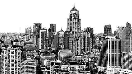 Drawing City Buildings And Scenery Vector 03 Free Download