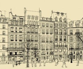 Drawing city buildings and scenery vector 04