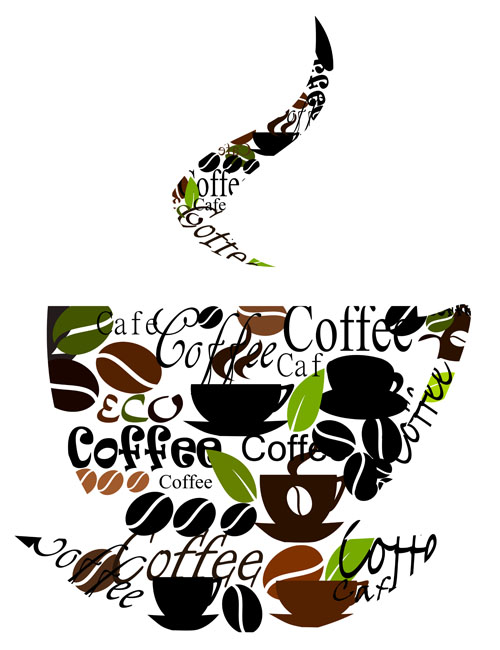 Set of Creative Coffee design elements vector material 03