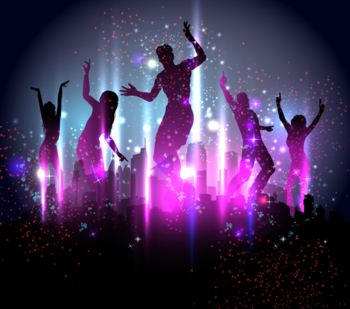 Dancing people with party design vector set 01