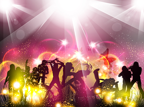 Dancing people with party design vector set 02