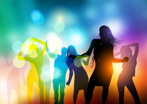 Dancing people with party design vector set 04