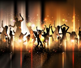 Dancing people with party design vector set 05