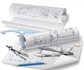 Set of Architectural drawings design vector material 01