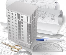 Set of Architectural drawings design vector material 04