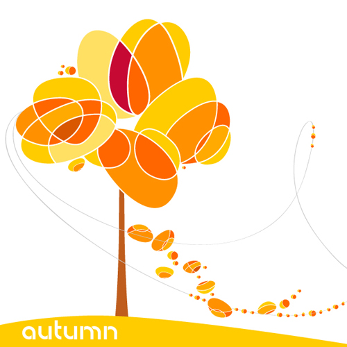Set of Leaf fall vector backgrounds vector 05