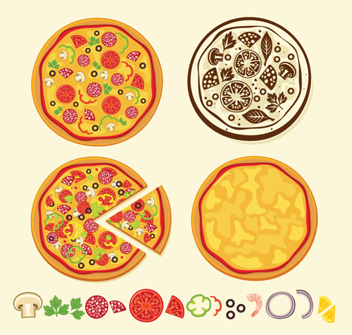 Various Food elements mix vector 01