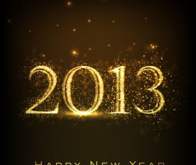 golden glow New Year 2013 design elements vector 01