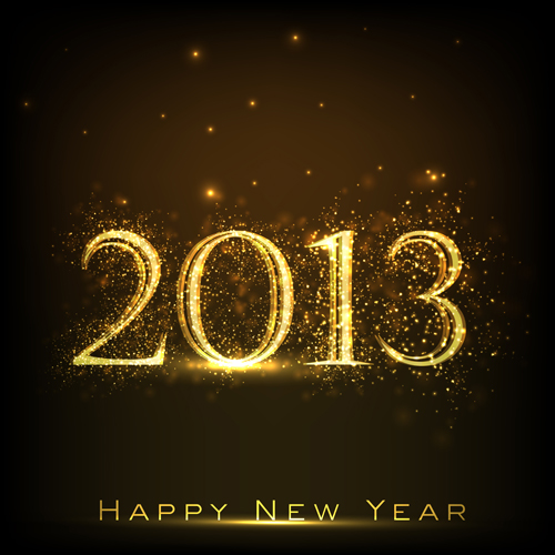 golden glow New Year 2013 design elements vector 01