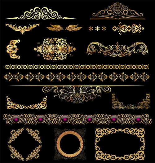 Set of Golden ornament Borders design vector 01 free download