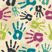 Link toColorful hand prints design vector set 01